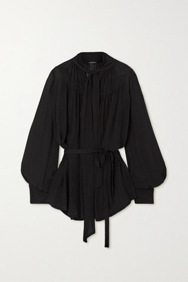 Ann Demeulemeester Pussy-bow Belted Chiffon Blouse - Black