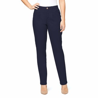 Gloria Vanderbilt Women's Misses Rear Elastic High Waist Pleated Chino Pants