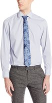 Nick Graham Men's Micro Check Cotton Poplin Dress Shirt with Tie