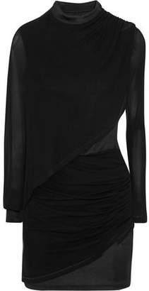 Balmain Ruched Chiffon-paneled Jersey Mini Dress