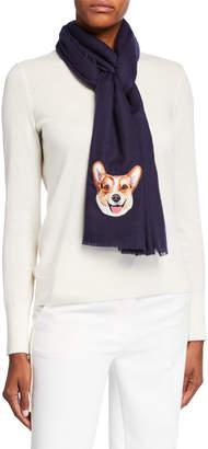 Janavi K Dog Face Embroidered Cashmere Scarf