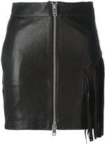 Diesel fringed leather skirt - women - Cotton/Lamb Skin - 26