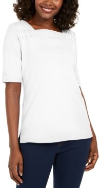 Karen Scott Cotton Eyelet-Trim Top, Created for Macy's