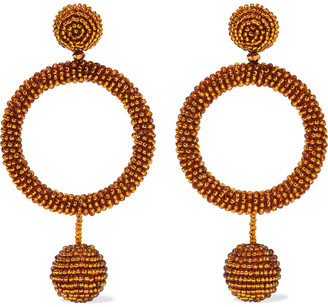 Oscar de la Renta Gold-tone Beaded Hoop Earrings