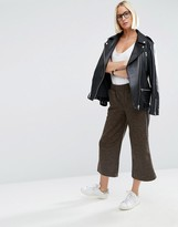 Asos Wool Touch Wide Leg Pants with Side Stripe