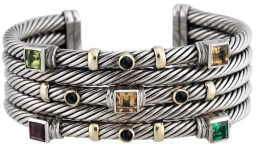 David Yurman Sterling Silver and 14K Yellow Gold Multi Gem Stones Renaissance Cuff Bracelet