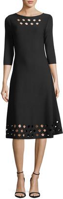 Nic+Zoe Time Out Twirl 3/4-Sleeve Cutout Dress