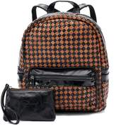 AmeriLeather Berne Leather Basketweave Backpack with Coin Purse