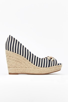 Wallis Navy Stripe Buckle Wedge Heel Shoe