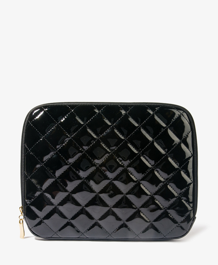 Forever 21 Sleek Quilted Patent Tablet Pouch