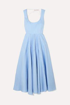 Emilia Wickstead Amal Open-back Cotton-blend Cloque Maxi Dress - Blue