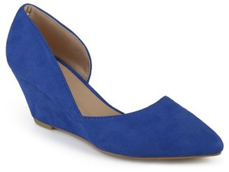 Brinley Co. Womens Pointed Toe Faux Suede Classic D'orsay Wedges