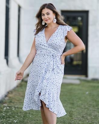 The Drop Women's White/Blue Print Ruffled Wrap Midi Dress by @caralynmirand XL
