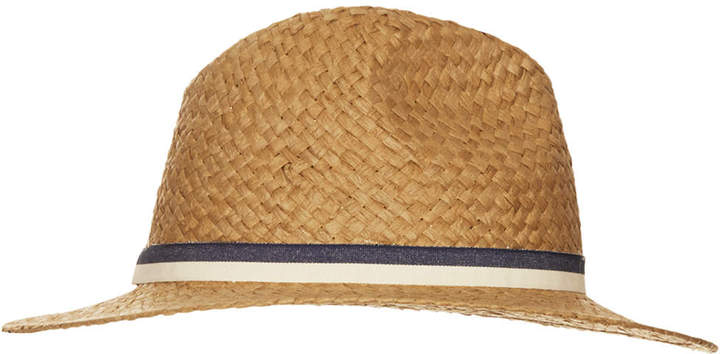 Topshop Straw double band fedora hat