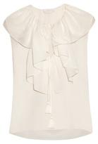 Chloé Ruffle-trimmed silk-crepe blouse