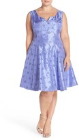 Taylor Notch Neck Eyelet Shantung Fit & Flare Dress (Plus Size)