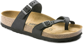 Birkenstock Mayari Oiled Regular Fit Black Leather Sandals - EU 38 / UK 5 | leather | black | Natural Cork - Black/Black