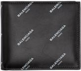 Balenciaga Black All Over Logo Bifold Wallet