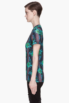 Christopher Kane Blue Floral Print Bouquet T-Shirt