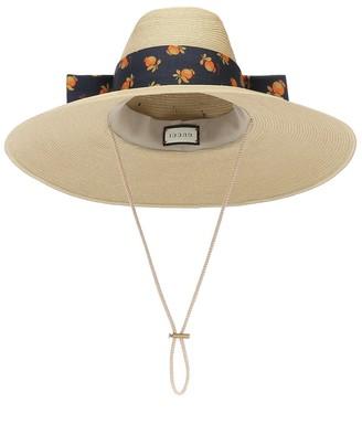 Gucci Drawstring straw-effect hat