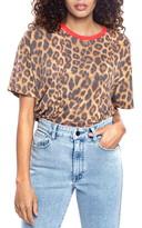 Found Denim Leopard Print Ringer T-Shirt