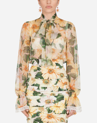 Dolce & Gabbana Camellia-Print Chiffon Shirt With Pussy Bow