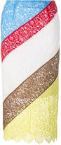Preen by Thornton Bregazzi colour block lace skirt