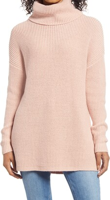 Halogen Oversize Turtleneck Tunic Sweater