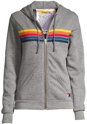 Aviator Nation Five-Stripe Zip-Front Hoodie