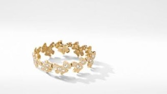 David Yurman Day Petals Bracelet In Yellow Gold With Diamonds