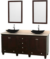WYNDHAM COLLECTION Acclaim 72 inch Double Bathroom Vanity with IvoryMarble Countertop and Arista Black Granite Sinks