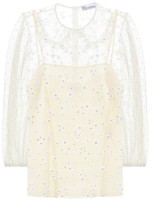 RED Valentino crystal-embellished tulle top