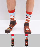 Asos Holidays Socks With Santa Stuck Up The Chimney Design 2 Pack
