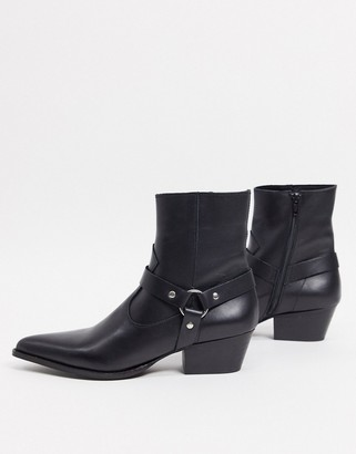 Depp leather western boots with harness detail in black