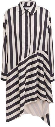 Marques Almeida Asymmetric Striped Satin-crepe Mini Shirt Dress
