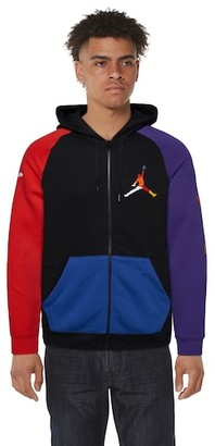 Jordan Rivals Full-Zip Hoodie Sweatshirt - Black / Red Court Purple