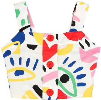 Stella Mccartney Kids Girl's Graphic Face Sleeveless Crop Top, Size 4-14