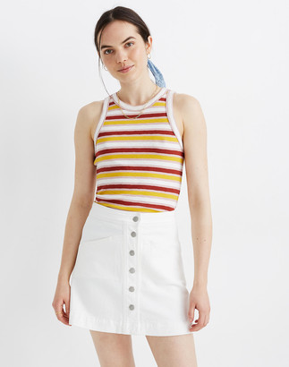 Madewell Stretch Denim A-Line Mini Skirt in Tile White: Button-Front Edition