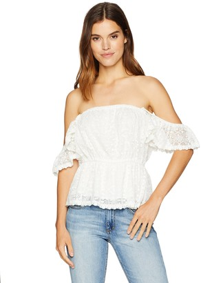 Cupcakes And Cashmere Women's Brenna Lace Flutter Sleeve Top