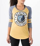 New Era Women's Memphis Grizzlies NBA Tri-Blend 3/4 Sleeve Scoop T-Shirt