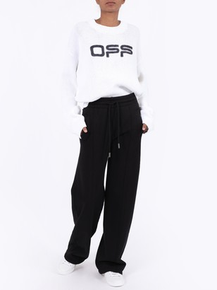 Off-White Off Logo Ribbed Knit Sweater White