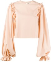 Thumbnail for your product : Maison Rabih Kayrouz Ruffle-Trimmed Cropped Blouse