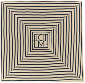Totême Off-White and Navy Silk San Remo Scarf