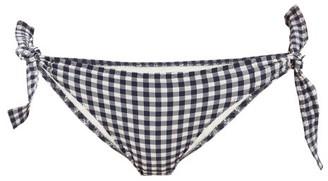 Belize - Magnolia Side-tie Gingham-seersucker Bikini Briefs - Blue Print