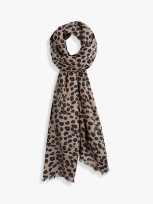 Hush Leopard Print Cashmere Scarf, Multi