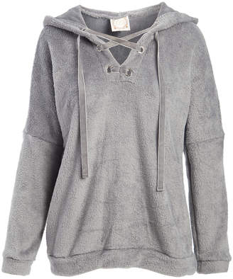 Tru Self Women's Sweatshirts and Hoodies GREY - Gray Fuzzy Hoodie - Women