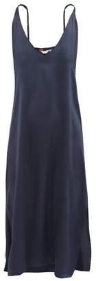 Derek Rose Bailey Silk Midi Slip Nightdress - Womens - Navy