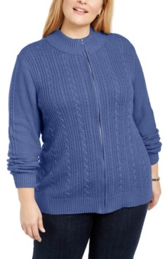 Karen Scott Plus Size Cable Knit Cardigan Sweater, Created for Macy's
