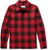 Ami - Buffalo Checked Brushed Virgin Wool-twill Overshirt