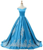Sunvary 2016 Cap Sleeves Ball Gown Appliques Quinceanera Prom Dresses Reception Size